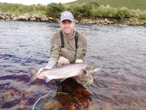 Glen-Woods-releasing-a-few-salmon Fly Fishnig Owenmore River Mayo Ireland July 2020